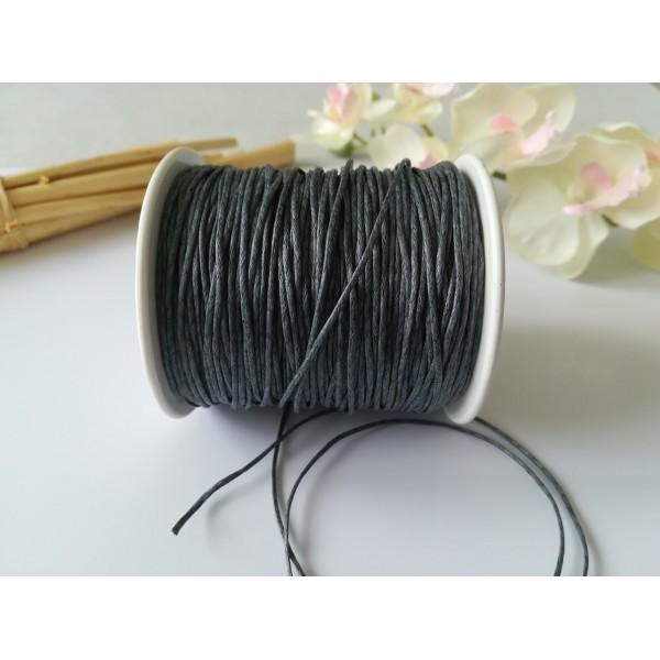 Fil coton ciré gris foncé 1 mm x 5 m - Photo n°1
