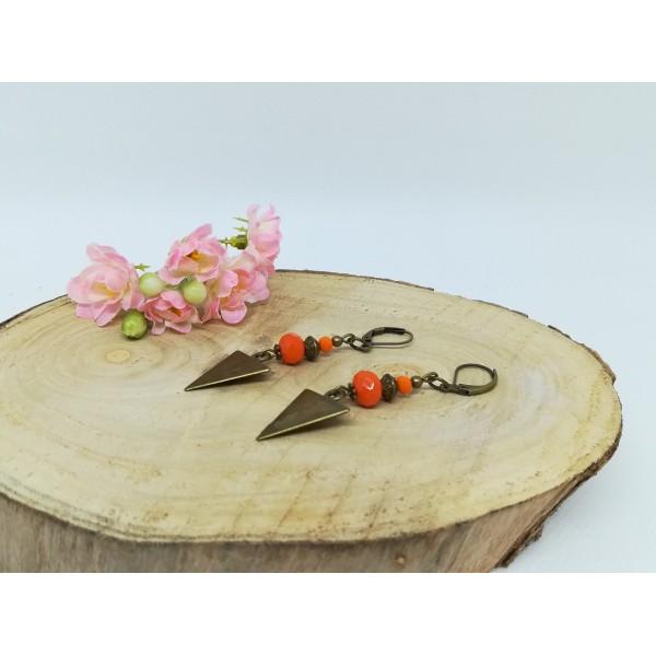 Kit boucles d'oreilles apprêts  bronze et perles en verre à facette orange - Photo n°2
