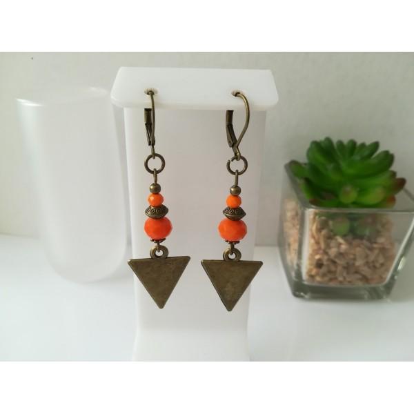 Kit boucles d'oreilles apprêts  bronze et perles en verre à facette orange - Photo n°1