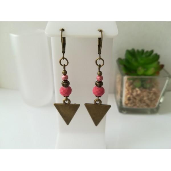 Kit boucles d'oreilles apprêts  bronze et perles en verre à facette framboise - Photo n°1