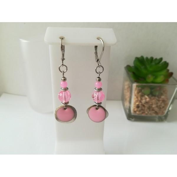 Kit boucles d'oreilles apprêts argent mat et perle en verre tréfilé rose - Photo n°1