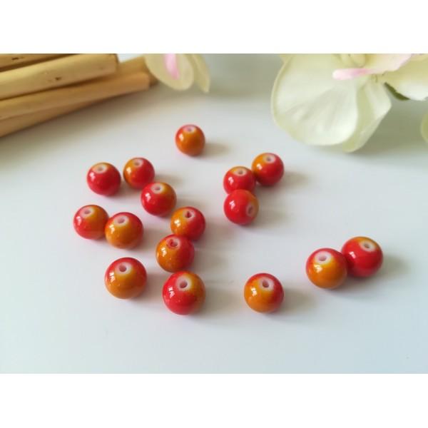 Perles en verre 8 mm bicolore rouge et orange x 20 - Photo n°1