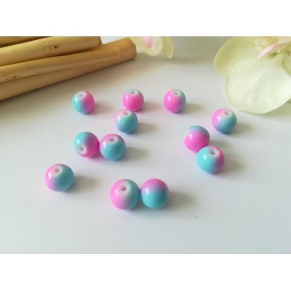 Perles en verre 8 mm bicolore bleu et rose x 20 - Photo n°1