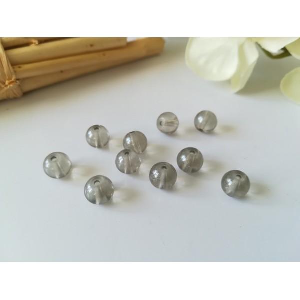 Perles en verre 8 mm brillantes grises x 20 - Photo n°1