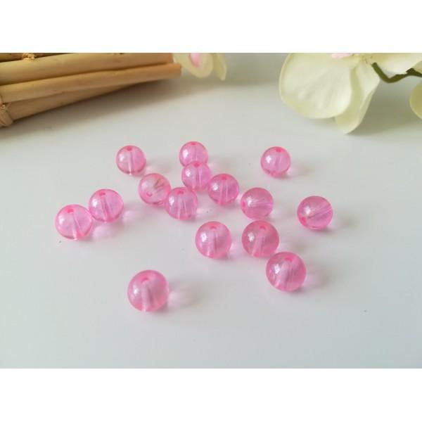 Perles en verre 8 mm brillantes roses x 20 - Photo n°1