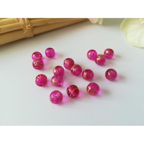 Perles en verre laqué 8 mm fuchsia tréfilé doré x 10 - Photo n°1
