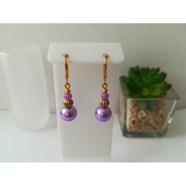 Kit boucles d'oreilles apprêts dorés et perles en verre nacré mauve - Photo n°1