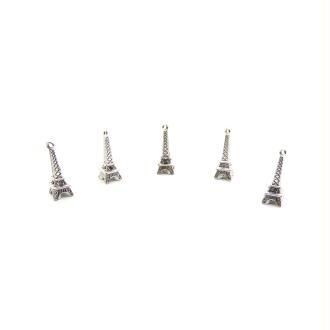 Breloques Tour Eiffel 24x8mm métal argenté - 5 pièces