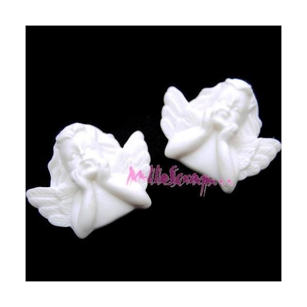 Cabochons anges résine blanc - 2 pièces - Photo n°1