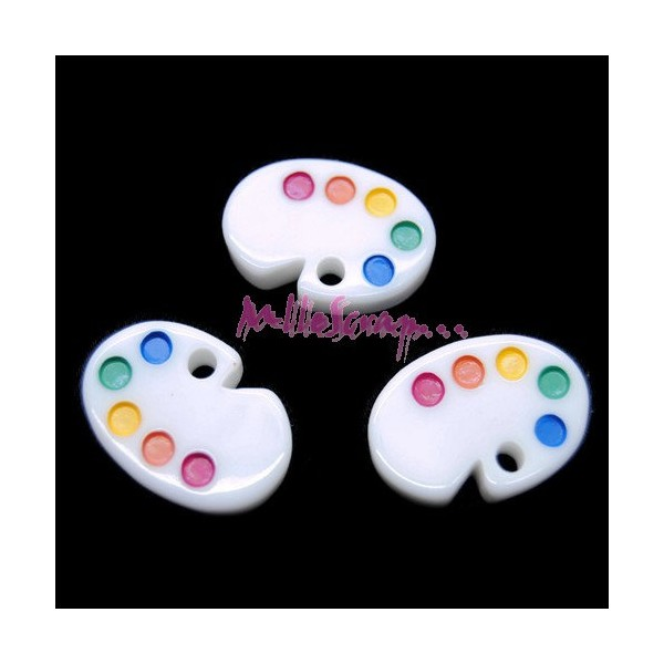 Cabochons palettes de peintre résine multicolore - 3 pièces - Photo n°1