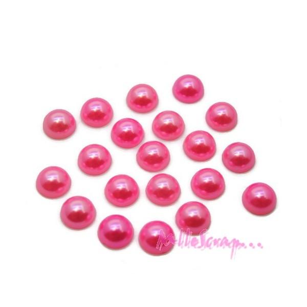 Cabochons demi-perles à coller 8 mm rose - 20 pièces - Photo n°1