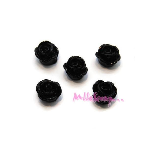 Cabochons petites roses résine 8 mm - 5 pièces - Photo n°1