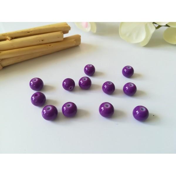Perles en verre ronde 8 mm violet x 20 - Photo n°1