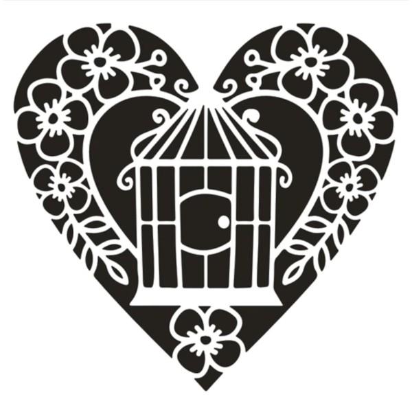 POCHOIR PLASTIQUE 13*13cm : cage oiseau dans coeur - Photo n°1