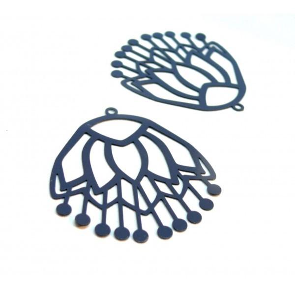 AE116260 Lot de 2 Estampes pendentif filigrane Fleur Bleu Gris 36 par 40mm - Photo n°1