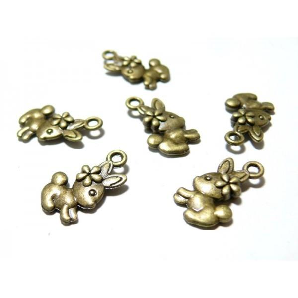 Lot de 20 breloques pendentif lapin mignon métal coloris Bronze ref 65 - Photo n°1