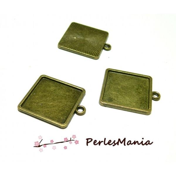 Lot de 5 supports de pendentifs CARRE qualité extra 20mm métal coloris BRONZE ID27670 - Photo n°1