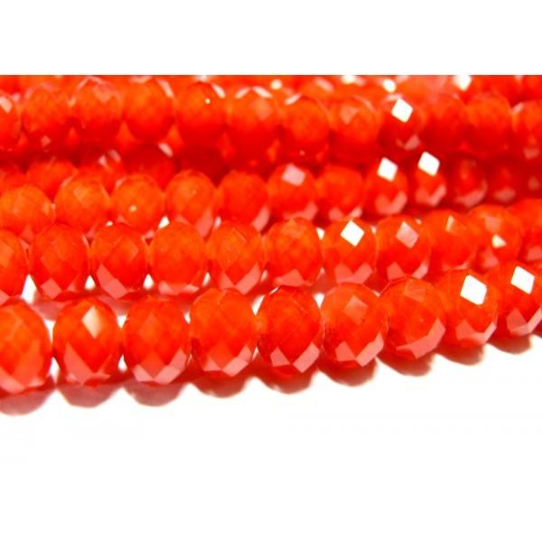 1 fil de 100 Rondelles Cristal imitation Orange Rouge Facettée 4 par 6mm 2J1546 - Photo n°1