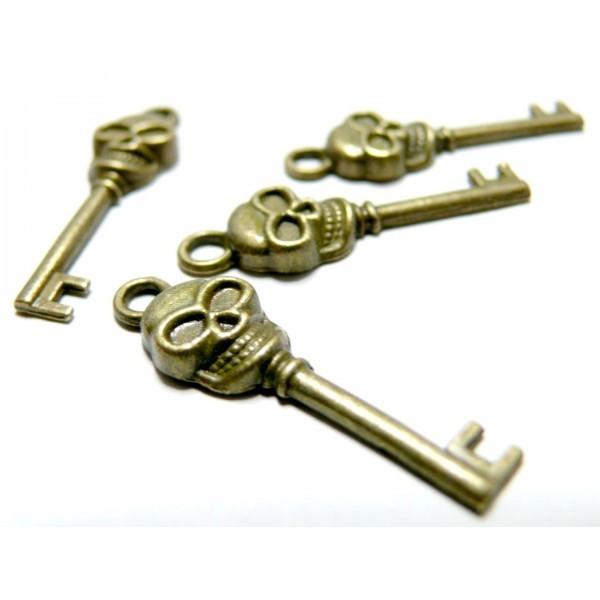 Lot de 20 breloque pendentif clé crane métal couleur Bronze - Photo n°1