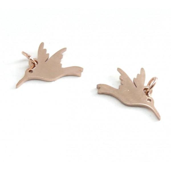 H105522 Lot de 2 pendentifs Oiseau mouche, colibri acier inoxydable coloris Or Rose - Photo n°1