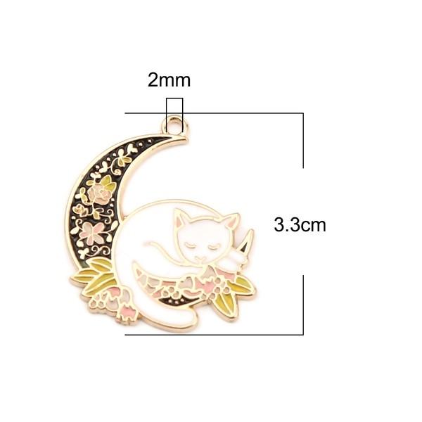 PS11656084 PAX 4 pendentifs breloques Kawaii Chat sur Lune Emaillé 33 mm métal Doré - Photo n°2