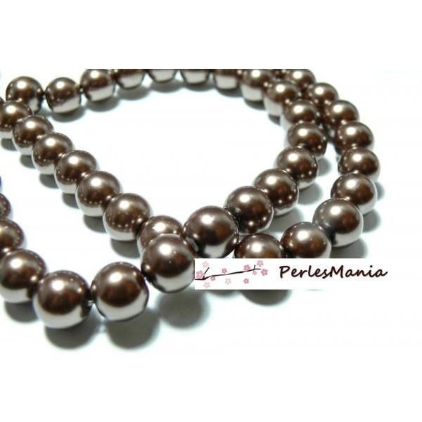 1 fil d'environ 210 perles de verre nacré CAFE BRONZE 4mm PB47 - Photo n°1