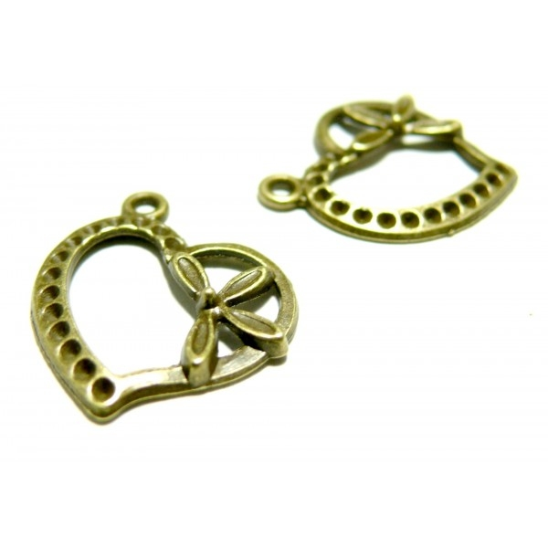Lot de 20 pendentifs breloque Coeur métal coloris bronze ref 2W5439 - Photo n°1