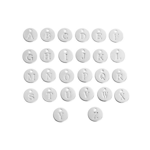 S110082956 PAX 26 Pendentifs Breloques Alphabet 12mm métal couleur Argent Vif - Photo n°2