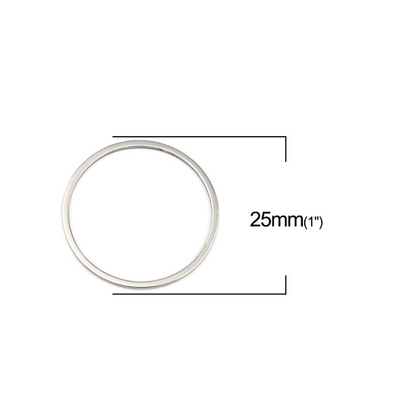 PS110256720 PAX 5 Pendentifs connecteur Cercle 25 mm en Acier Inoxydable 304 coloris Argent - Photo n°2