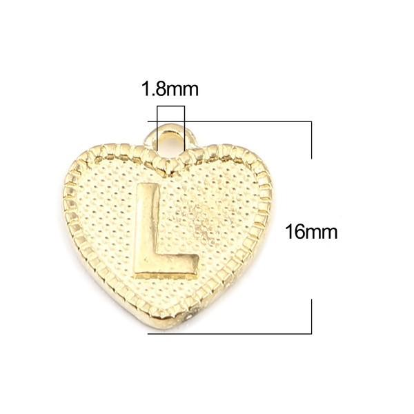 S11658559 PAX 26 Pendentifs Breloques Alphabet Coeur métal couleur Doré Clair - Photo n°2