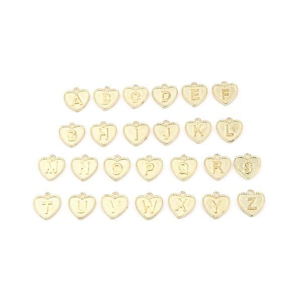 S11658559 PAX 26 Pendentifs Breloques Alphabet Coeur métal couleur Doré Clair - Photo n°1