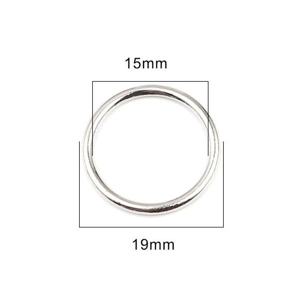 PS11657664 PAX 25 pendentifs Anneaux Connecteur fermé rond 19mm métal couleur Argent Platine - Photo n°2