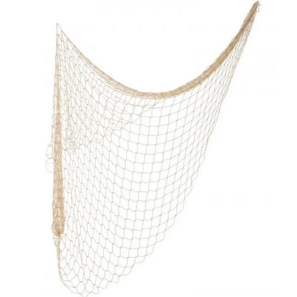 Filet de pêche décoratif en coton, 4 m x 1 m, Epaisseur du fil 1,2mm, Largeur des mailles 5cm, Coule - Photo n°1