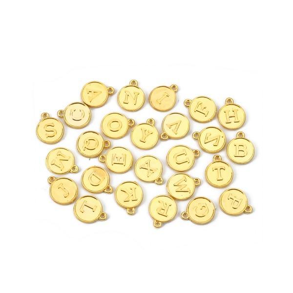 S110120208 PAX 26 Pendentifs Breloques Alphabet métal couleur Doré - Photo n°1