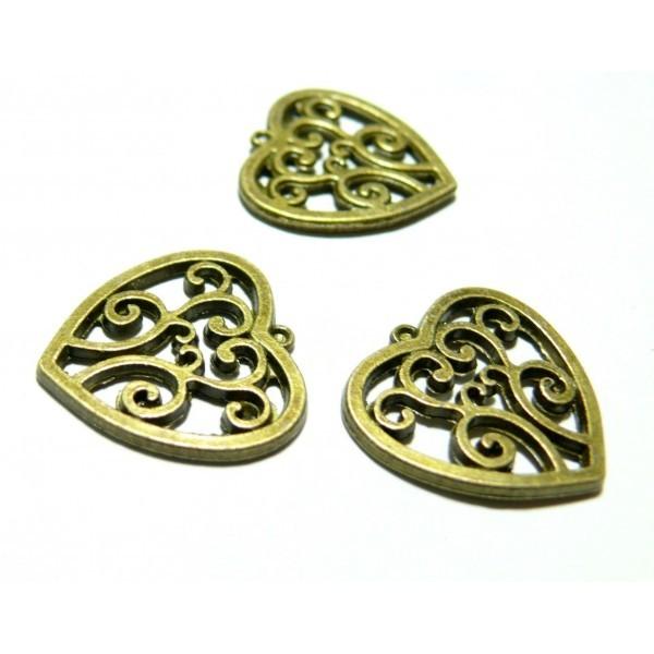 Lot de 20 pendentifs connecteur coeur Bronze arabesque 2D4710 - Photo n°1