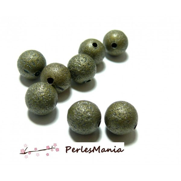 Lot de 20 perles intercalaires rondes stardust 10mm métal coloris Bronze P226 - Photo n°1