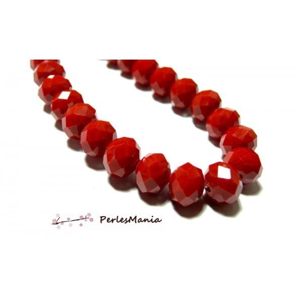 1 fil d'environ 68 perles Rondelles 8 par 6mm Verre facettée Rouge Vif couleur 18 - Photo n°1