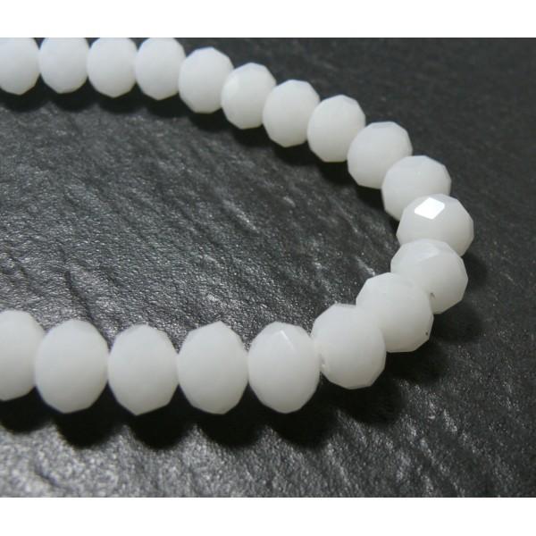 1 fil d'environ 68 perles à facettes rondelles en verre 8 par 6mm Blanc laiteux couleur 64 - Photo n°1