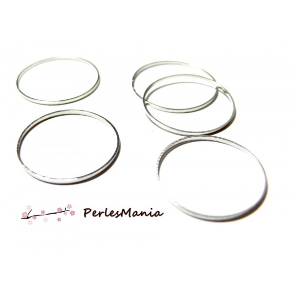 H1118740 PAX 20 pendentifs grand anneau Connecteur fermé Rond metal couleur Argent platine 40mm - Photo n°1