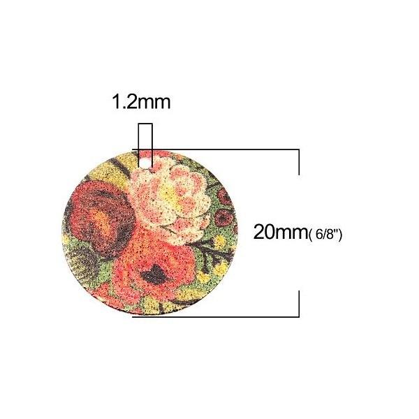 S110249250 PAX 5 pendentifs breloques stardust Ronde 20mm Bouquet de Fleurs Cuivre Coloris Doré - Photo n°2
