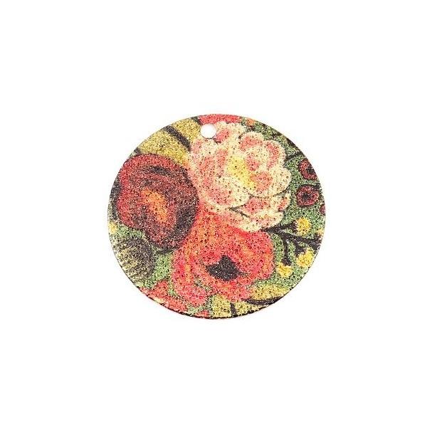 S110249250 PAX 5 pendentifs breloques stardust Ronde 20mm Bouquet de Fleurs Cuivre Coloris Doré - Photo n°1