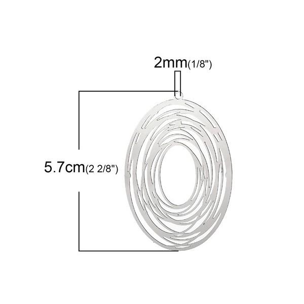 PS1162692 PAX 5 pendentifs Ovale spirale 57 mm Acier Inoxydable couleur Argent Platine - Photo n°3