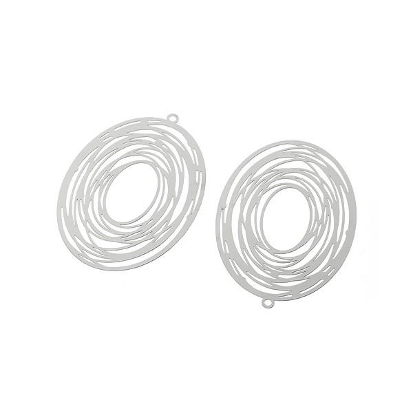 PS1162692 PAX 5 pendentifs Ovale spirale 57 mm Acier Inoxydable couleur Argent Platine - Photo n°1
