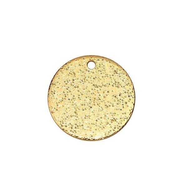 PS110111006 PAX 5 Pendentifs medaillon Rond Stardust Cuivre Dorees EFFET PAILLETTES 12mm - Photo n°2