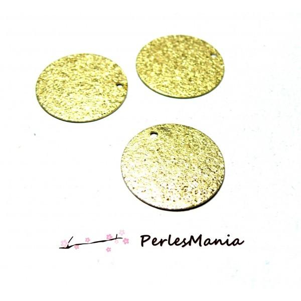PS110111006 PAX 5 Pendentifs medaillon Rond Stardust Cuivre Dorees EFFET PAILLETTES 12mm - Photo n°1