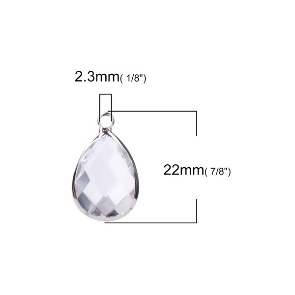 PS110100859 PAX 2 pendentifs Goutte de Verre Transparents 22 mm métal Argenté - Photo n°2