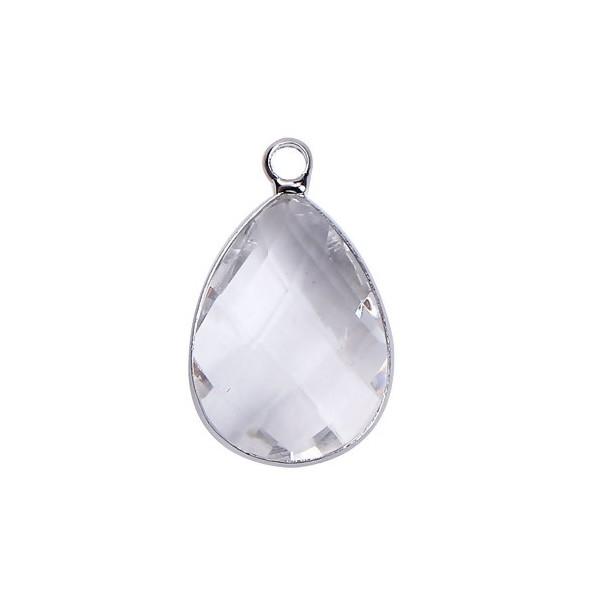 PS110100859 PAX 2 pendentifs Goutte de Verre Transparents 22 mm métal Argenté - Photo n°1
