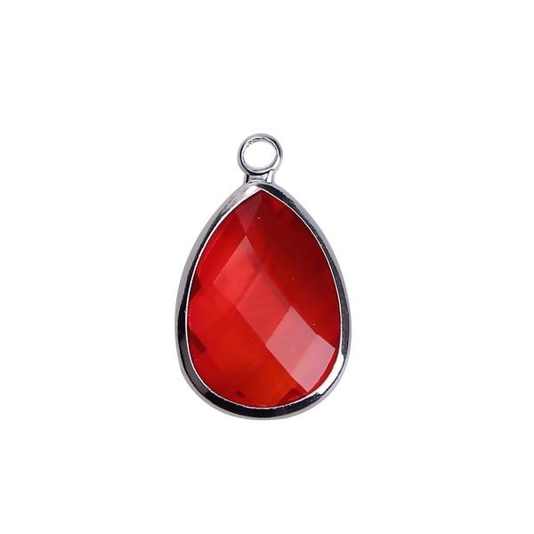 PS110100860 PAX 2 pendentifs Goutte de Verre Rouge 22 mm métal Argenté - Photo n°1