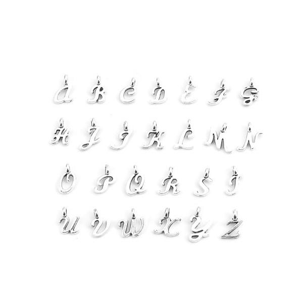 S110219986 PAX 26 Pendentifs Breloques Alphabet Lettres métal couleur Argent Antique - Photo n°1