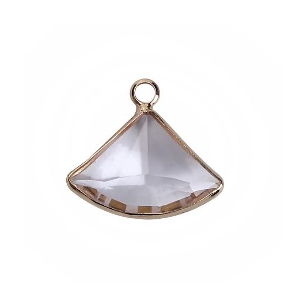 PS110100866 PAX 2 pendentifs Eventail Verre Transparents 19 mm métal Doré - Photo n°1